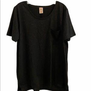 George Women's Black Short Sleeve Pocket T Size 1x